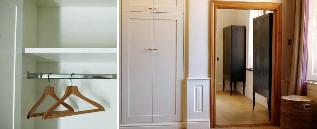 Bedroom furniture - white built-in cupboards